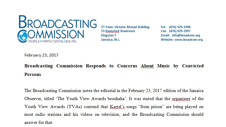 Broadcasting Commission Responds to Concerns About Music by Convicted Persons